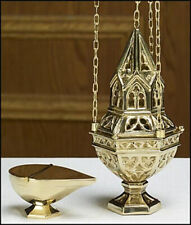 "Brass Ornate Censer Sacred Vessel on 36"" Chain With Incense Boat Set"