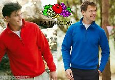 STOCK 3 pezzi FRUIT OF THE LOOM felpa uomo MEZZA ZIP cerniera corta da S a XXL $