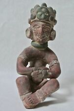 Vintage Aztec Mayan Style Terracotta Clay Painted Mexico Warrior Sitting