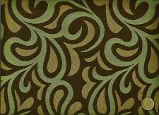 Momentum Textile Rococo Blue Funky modern Retro Swirl Design Upholstery Fabric
