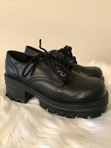 Vintage Y2k Jammers Creepers Platform Punk Rock Black Shoes Block Heel Size 7