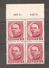TIMBRE SARRE SAAR 1950  ADOLF KOLPING N°269 BLOC 4 NEUF** MNH