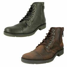 Mens Davidson Leather Biker Lace Up Ankle Boots : Maine