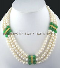 """Pretty 3 Rows Genuine 7-8mm White Pearl & 8mm Green Jade Beads Necklace 17-19"""""""