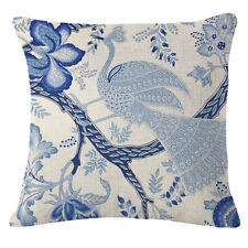 Vintage Blue Flowers Cotton Linen Throw Pillow Case Cushion Cover Home Decor #7