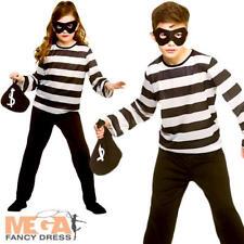 Sneaky Robber Kid Fancy Dress Inmate Criminal Prisoner Boys Girls Childs Costume