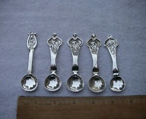 LOT: 5 Modern CRAFT STERLING BABY BIRTH SPOONS-Signed A.M. BIGGS-NR