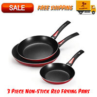 3 Piece Non-Stick Red Frying Pans, Kitchen Home & Outdoors, Camping Cookware