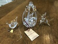 Set of 3 - Vintage SYLVESTRI SPUN GLASS Gold Christmas Tree Bird Ornaments