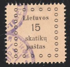 LITHUANIA (Scott 10) (1919 First Kaunas Error Issue with GRODNO Cancel 15sk USED