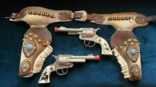 Vintage Hubley Texan Jr. Cap Gun Short Barrel white Grip Holster set