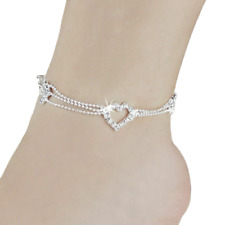 Womens Crystal Heart Ankle Bracelet Silver Bead Anklet Chain Leg Beach Xmas Gift