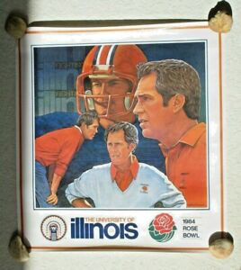 VTG 1984 UNIVERSITY OF ILLINOIS FOOTBALL FIGHTING ILLINI Rose Bowl Poster RARE