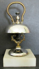 Hotel Front Desk Silver Plate Bell With Marble Base To Call The Bell Hop