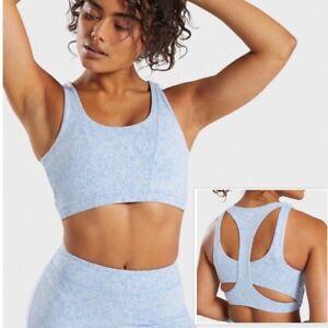 Gymshark Fleur Texture Sports Bra In Malibu Blue Marl Size XS (See Desc) EUC