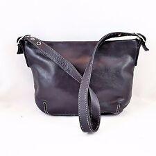 Perlina New York Black Genuine Leather Zip Top Shoulder Bag Excellent Cond