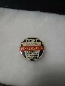 Vintage Early Pennsylvania PA Fishing License Pin 1942