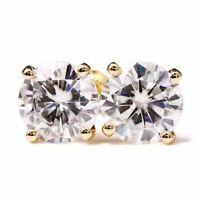 2 Ct Classic Round Cut Near White Moissanite Earrings 9K In Yellow Gold