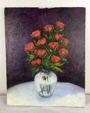 16 x 20 Oil Painting Red Roses in Glass Vase on White Table against Dark Wall