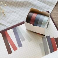 Sticky Adhesive Sticker Decorative Washi Tape 5pcs Solid Color DIY Paper