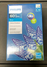 Blue Color FACETED LED C6 60 count LIGHTS Christmas PHILIPS NEW
