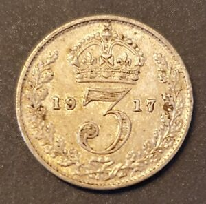 UK Great Britain 1917 Threepence - Silver - George V