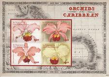 St Vincent & The Grenadines 2014 MNH Orchids of Caribbean 4v MS II Flowers Flora