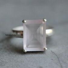 Natural Rose Quartz Octagon Ring 925 Silver Jewelry.Free Shipping.All US SIZE