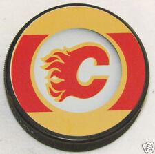 "CALGARY FLAMES ""Retro"" Series Team Logo Model SOUVENIR PUCK Rare Misprint Error"