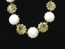 KARU ARKE Inc YELLOW Rhinestone MOTHER OF PEARL NECKLACE Vintage Goldtone MOP