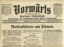 VORWÄRTS (19. Mai 1917): Massenstürme am Isonzo