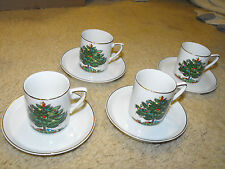 Fun Christmas Tree Theme Cappucino Cup & Saucer Set - 4 Pairs Item # 25294