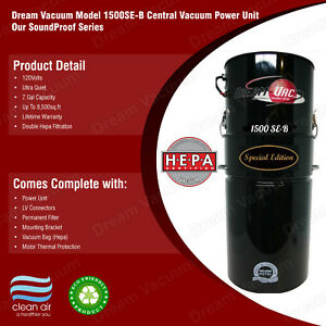 Whole House Central Vacuum System Dream Vacuum Black (Sound-Proof Series)