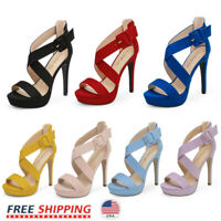 Women's High Stilettos Heel Sandals Open Toe Across Strap Party Dress Shoes