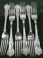 6  nice vintage EPNS A1 Dinner Table Forks kings pattern silver plated #2