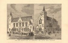 1880 ANTIQUE PRINT - NEW BURGH HALL OF CROSSHILL AND GOVAN HILL, GLASGOW