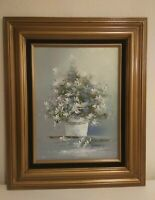 Vintage Painting Floral Still Life In Gold Gilded Frame
