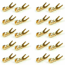 20 Pcs Copper Speaker Cable Spade Connector Terminal Plug Gold Plated Adapter Sg