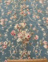 "Antique c1880 French Romantic Rose Floral & Bows Frame Cotton Fabric~26"" X 31"""