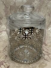 New! Bella Lux Cotton Balls Round Jar w/Lid Silver Clear Glass Bath Chrome