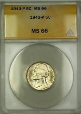 1943-P U.S. Wartime Silver Jefferson Nickel 5c Coin ANACS MS-66 (A)