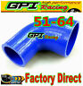 "2""-2.5"" 51mm to 64mm Silicone 90 Degree Elbow Reducer Pipe Hose INTERCOOLER BLU"