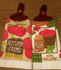 2 Double Sided Hand Crocheted Fall Apples Orchard Farm Dish Hanging Towels