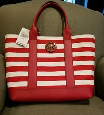 NEW Michael Kors Fulton Canvas red and white Tote MSRP 198.00