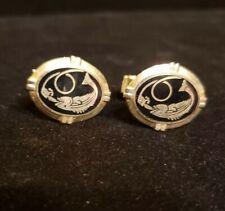 Vintage Goldtone & BLACK ENAMEL Oval FISHING Cufflinks, Signed A CORBI QUALITY