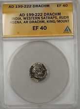 199-222 AD India Drachm Western Satraps Rudr Silver Ancient Coin ANACS EF 40