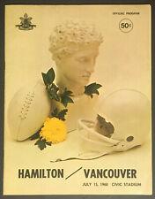1968 CFL Football Program Hamilton Tiger-Cats v Vancouver Lions Civic Stadium