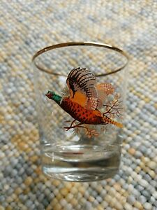 Vintage Whisky Glass Pheasant design