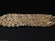 """Men Womens 10k Yellow Gold Necklace Solid Rope Diamond Cut Chain 2mm 22"""" inch"""