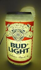 """Large Bud Light Beer Can Sign Lighted 32"""" Tall Vintage Budweiser Bar Cave 1988"""